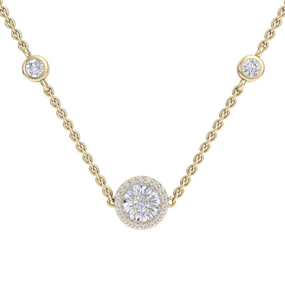 Beautiful Necklace in yellow gold with white diamonds of 0.37 ct in weight