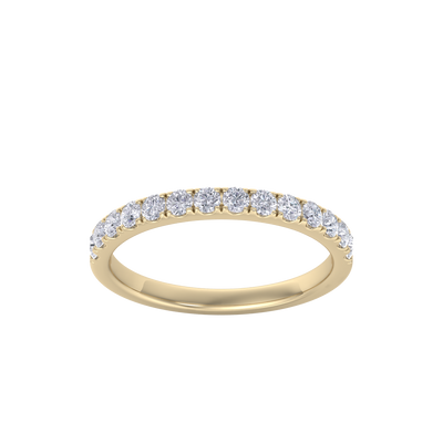Classic Wedding band in yellow gold with white diamonds of 0.49 ct in weight