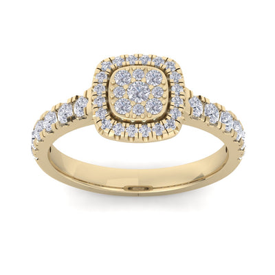 Halo Wedding ring in yellow gold with white diamonds of 0.75 ct in weight