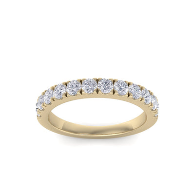 Classic Wedding band in yellow gold with white diamonds of 0.96 ct in weight