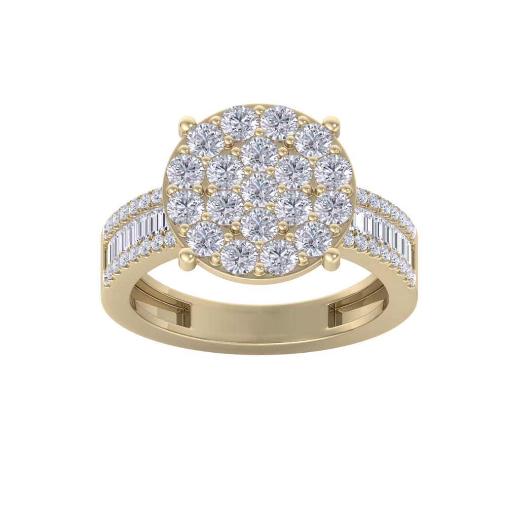 Diamond ring in yellow gold with white diamonds of 1.59 ct in weight