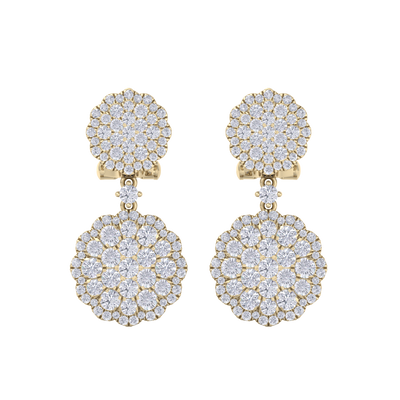 Drop earrings in yellow gold with white diamonds of 2.52 ct in weight