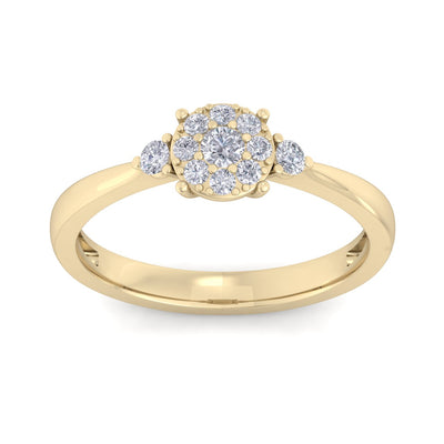Elegant diamond ring in yellow gold with white diamonds of 0.33 ct in weight