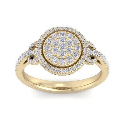 Halo Wedding ring in yellow gold with white diamonds of 0.59 ct in weight
