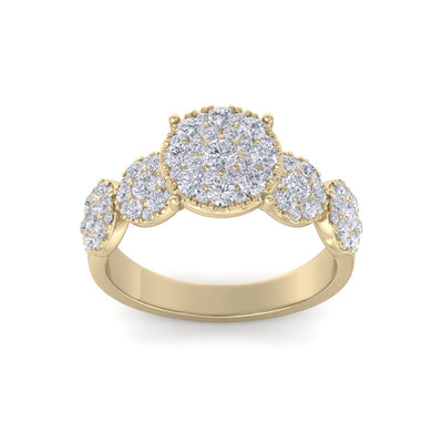 Bridal ring in yellow gold with white diamonds of 2.29 ct in weight
