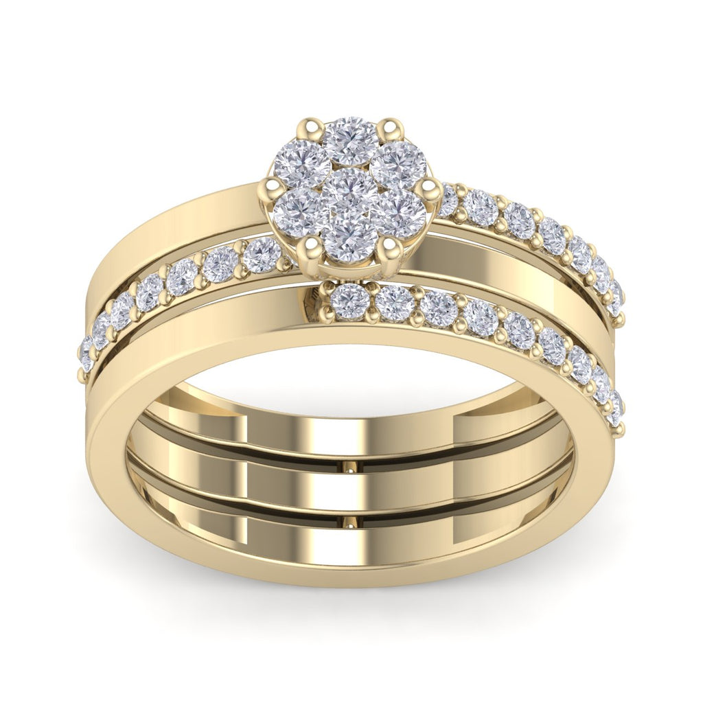 Beautiful ring in yellow gold with white diamonds of 0.64 ct in weight