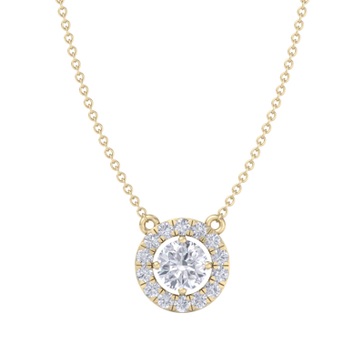 Classic Pendant in yellow gold with white diamonds of 1.42 ct in weight