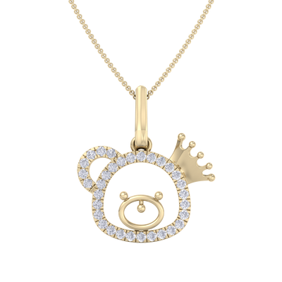 Cute Pendant in yellow gold with white diamonds of 0.58 ct in weight
