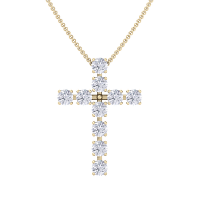 Diamond Cross Pendant in yellow gold with white diamonds of 1.10 ct in weight