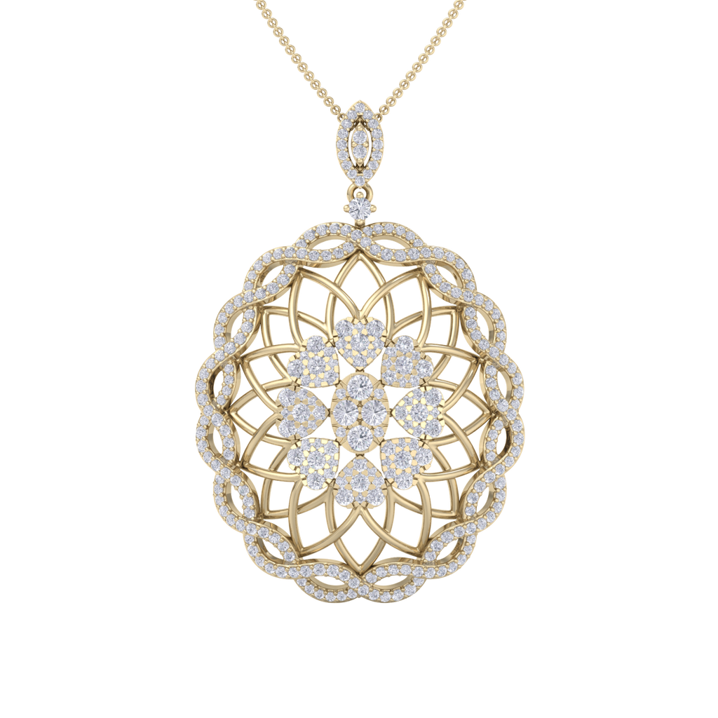 Round Pendant in yellow gold with white diamonds of 1.97 ct in weight