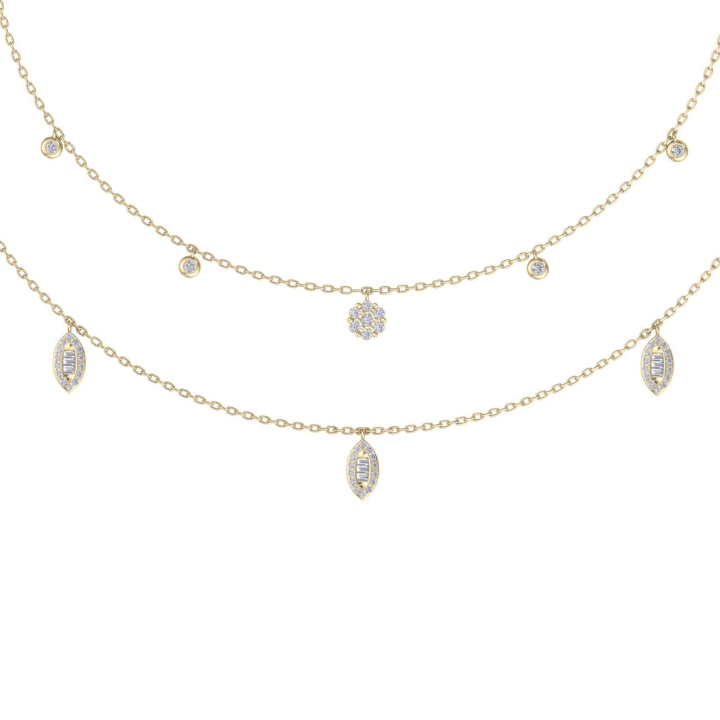 Multi-strand  necklace in yellow gold with white diamonds of 0.65 ct in weight
