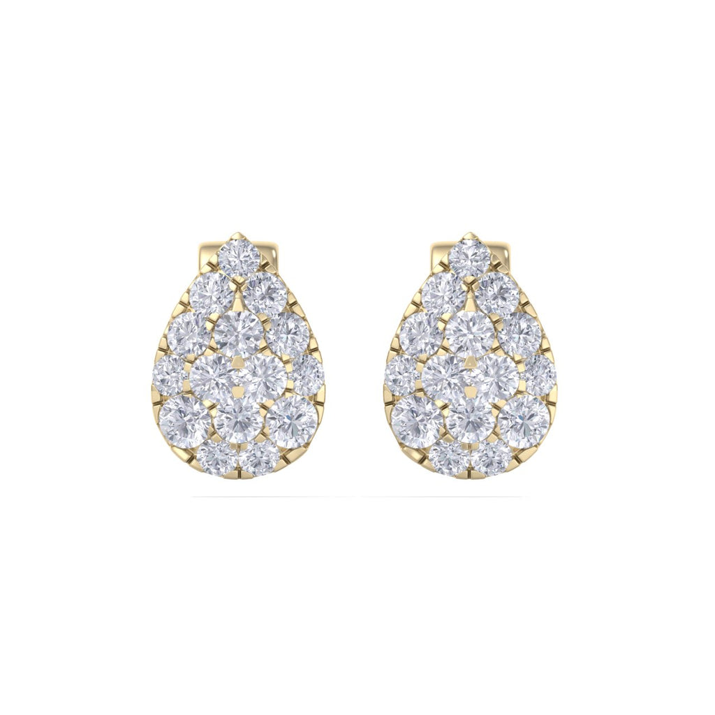 Pear shaped stud earrings in yellow gold with white diamonds of 0.71 ct in weight