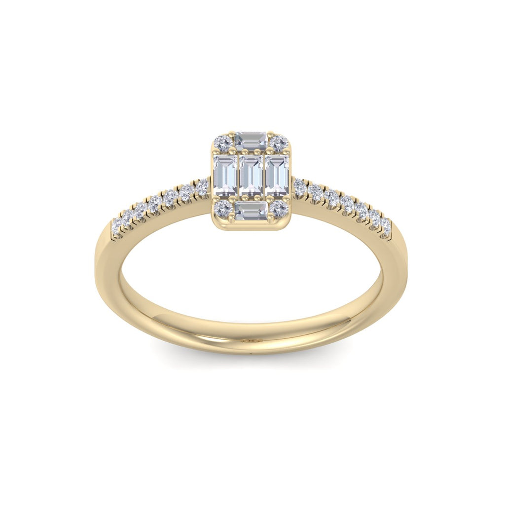 Baguette diamond ring in yellow gold with white diamonds of 0.66