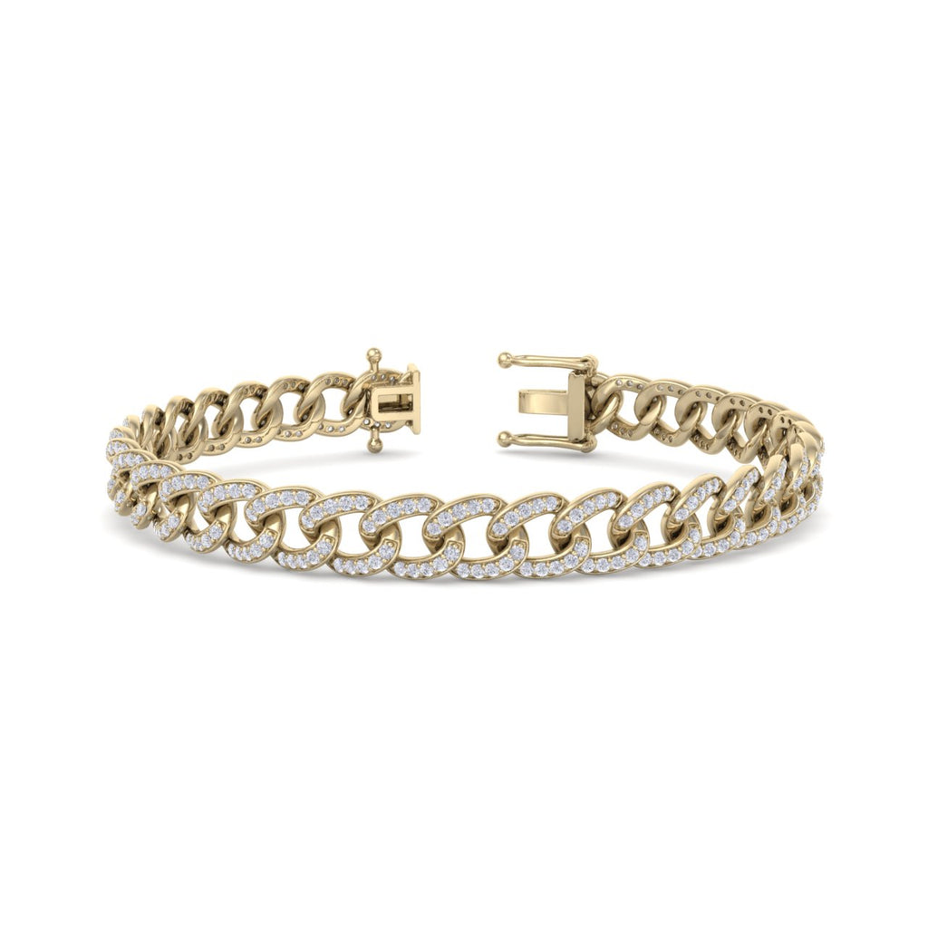 Bracelet chain in yellow gold with white diamonds of 1.44 ct in weight