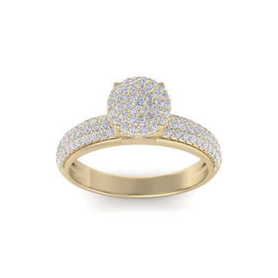 Cluster solitaire ring in yellow gold with white diamonds of 0.71 ct in weight