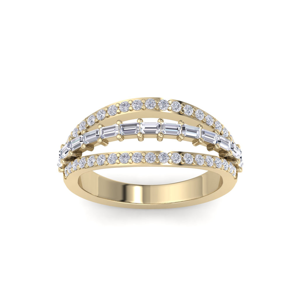 Ring in yellow gold with white diamonds of 0.98 ct in weight