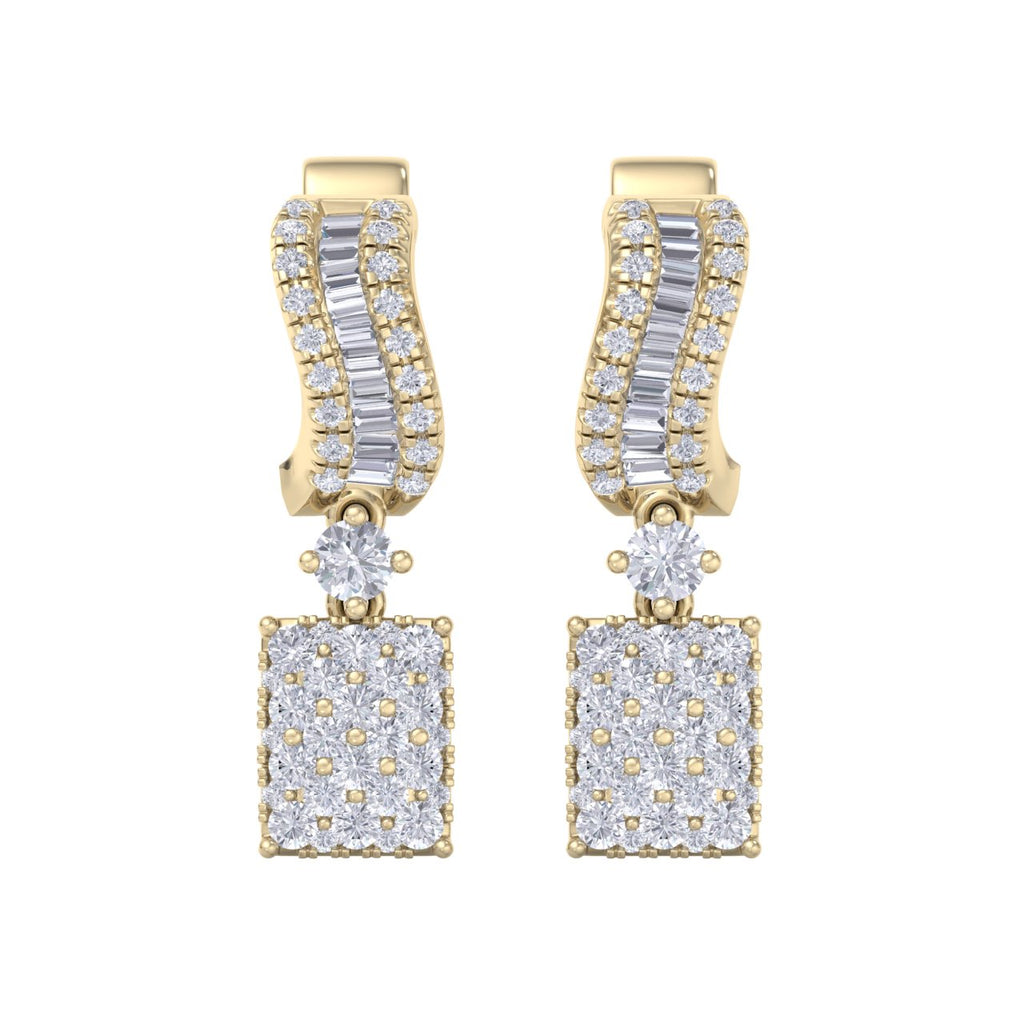 Drop earrings in yellow gold with white diamonds of 0.96 ct in weight