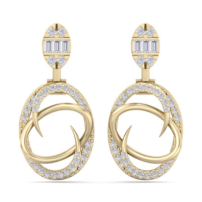 Elegant earrings in yellow gold with white diamonds of 0.70 ct in weight - HER DIAMONDS®