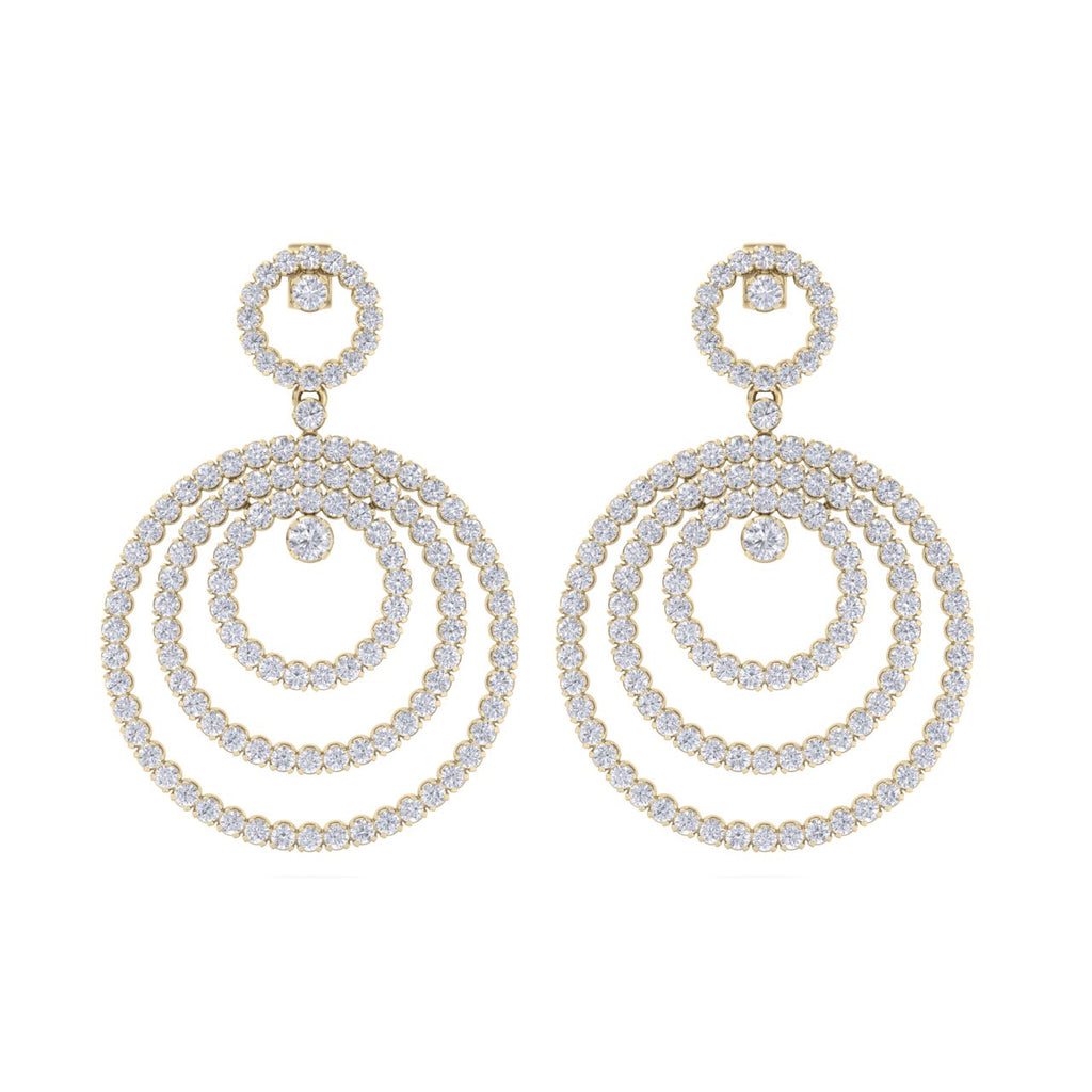 Chandelier earrings in yellow gold with white diamonds of 8.44 ct in weight
