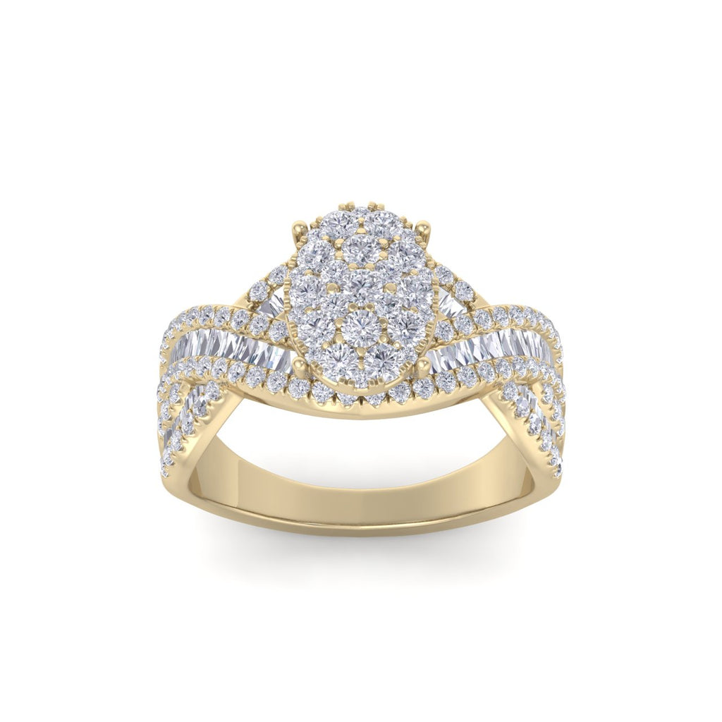 Oval ring in yellow gold with white diamonds of 1.18 ct in weight