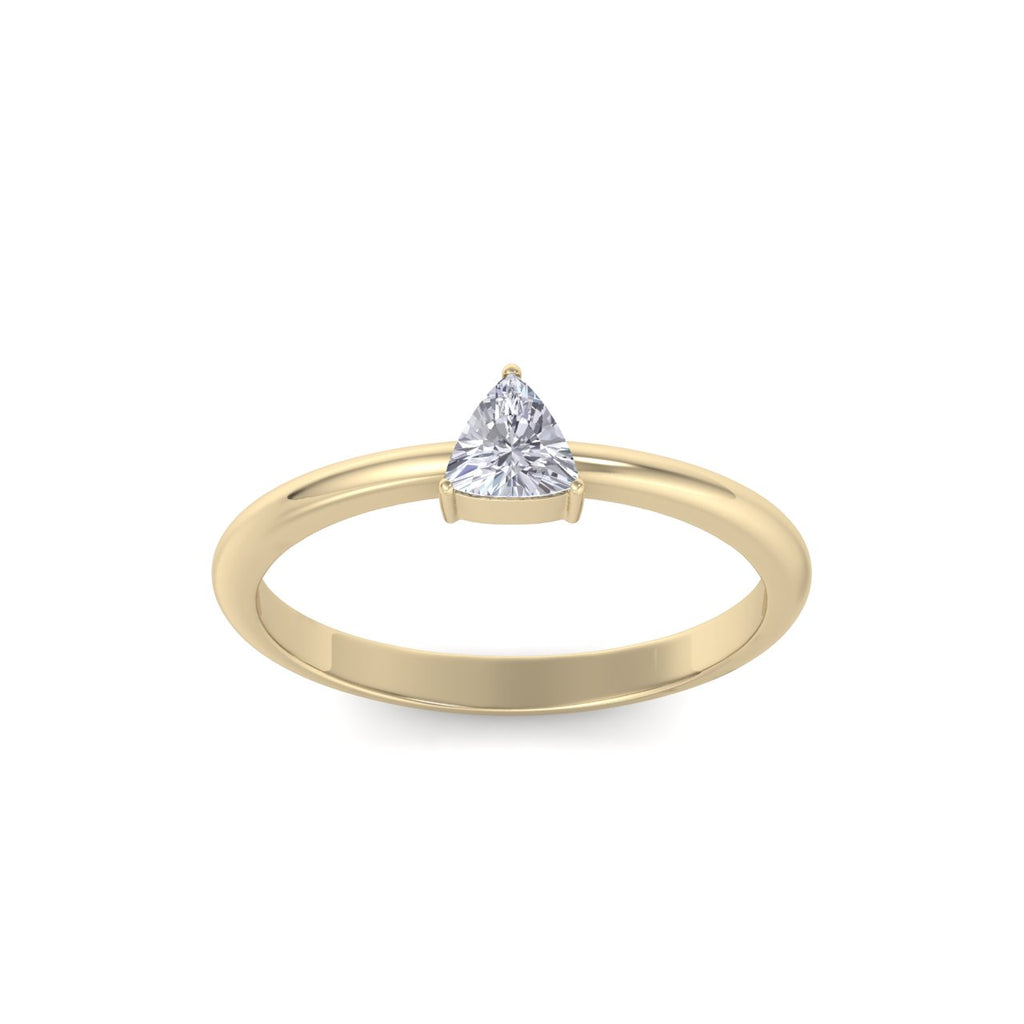 Triangle shaped petite diamond ring in yellow gold with white diamonds of 0.25 ct in weight