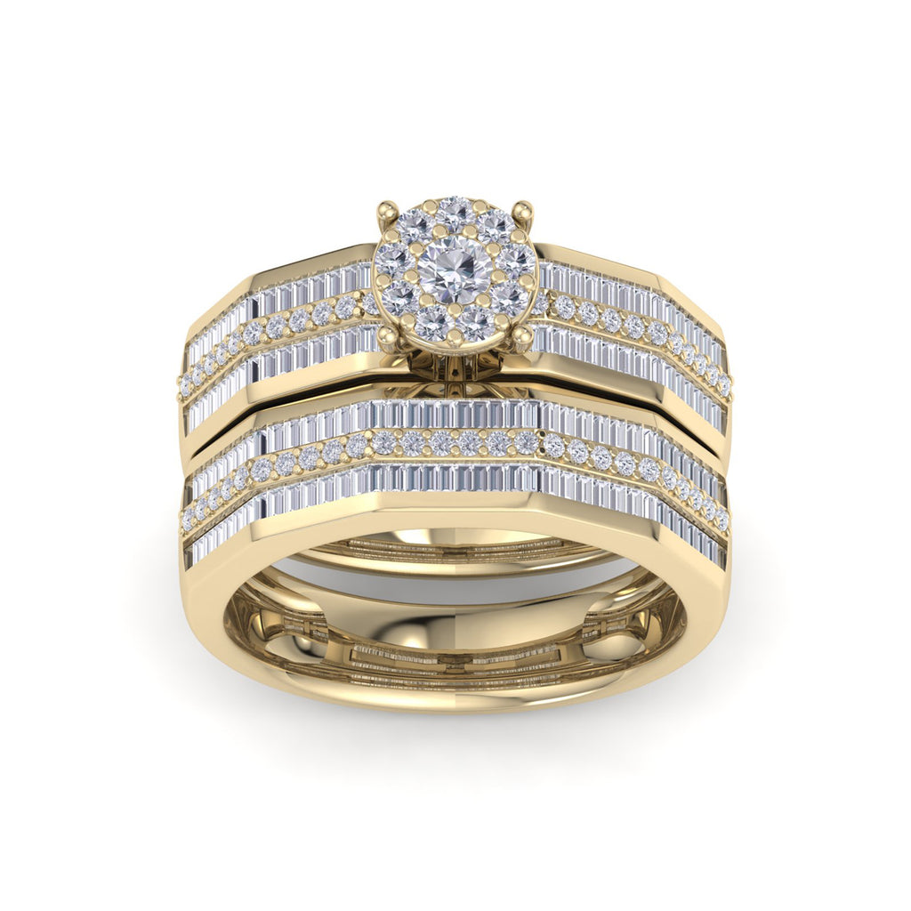 Bridal set in yellow gold with white diamonds of 1.14 ct in weight