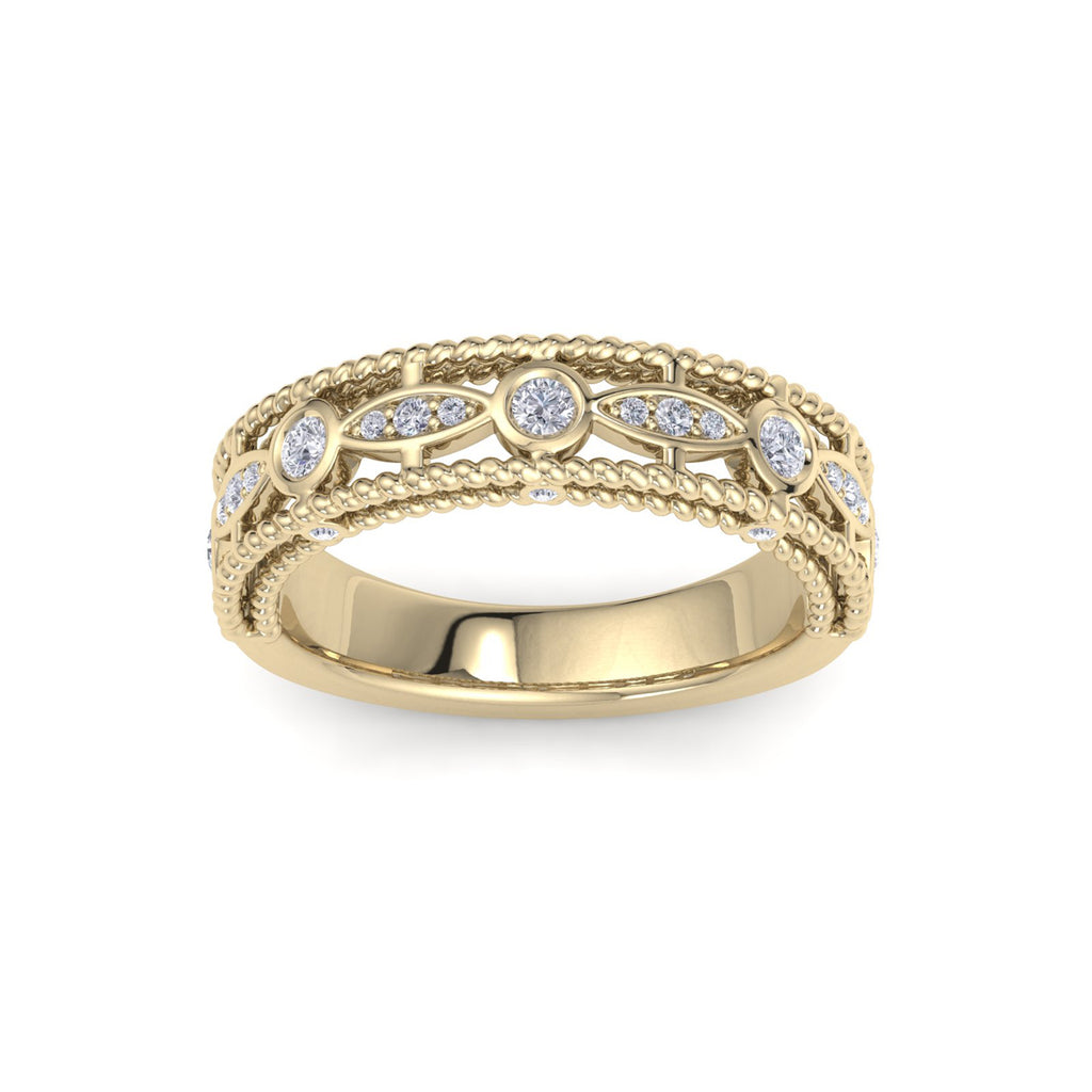 Marquise ring in yellow gold with twisted detail with white round diamonds of 0.36 ct in weight
