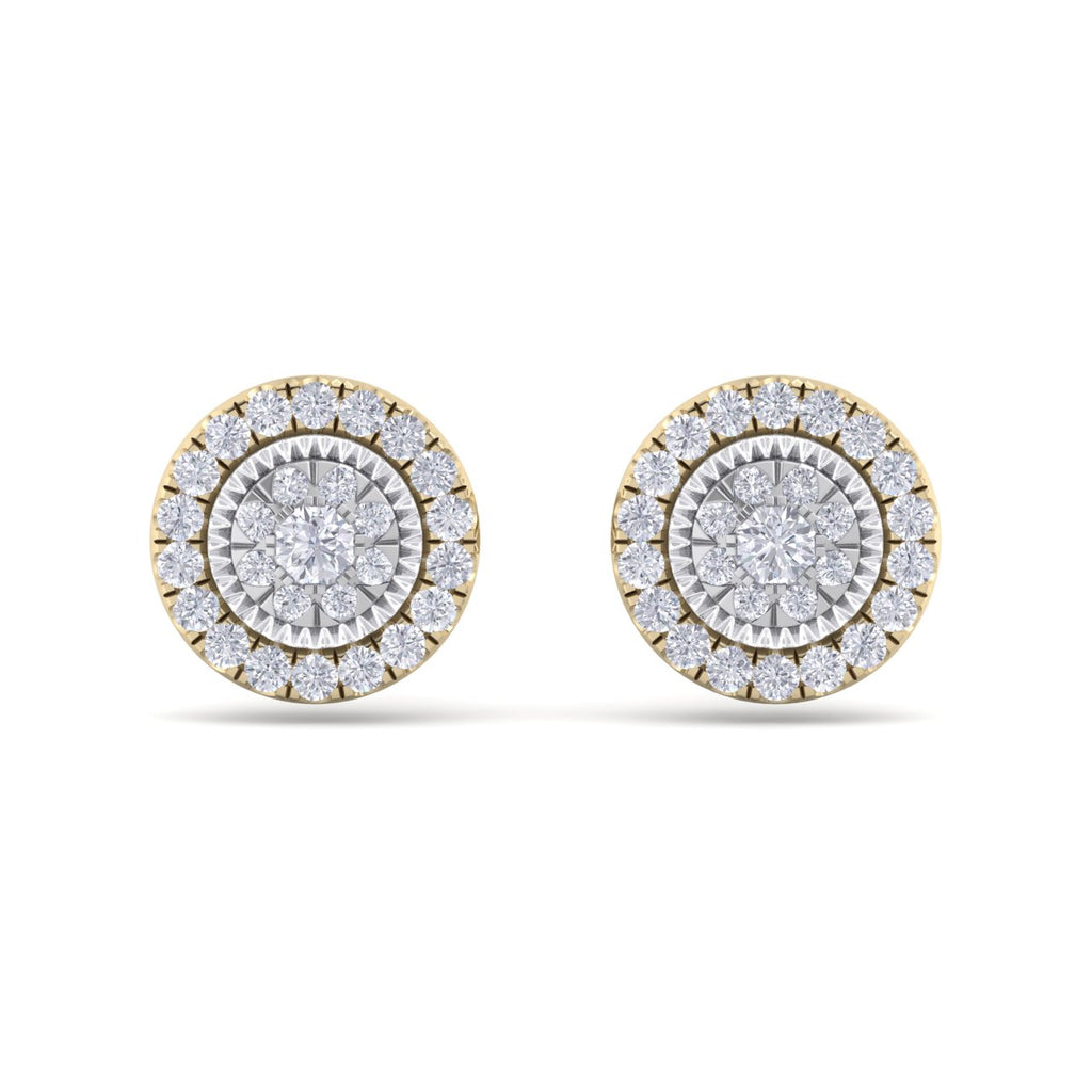 Round stud earrings in yellow gold with white diamonds of 0.55 ct in weight