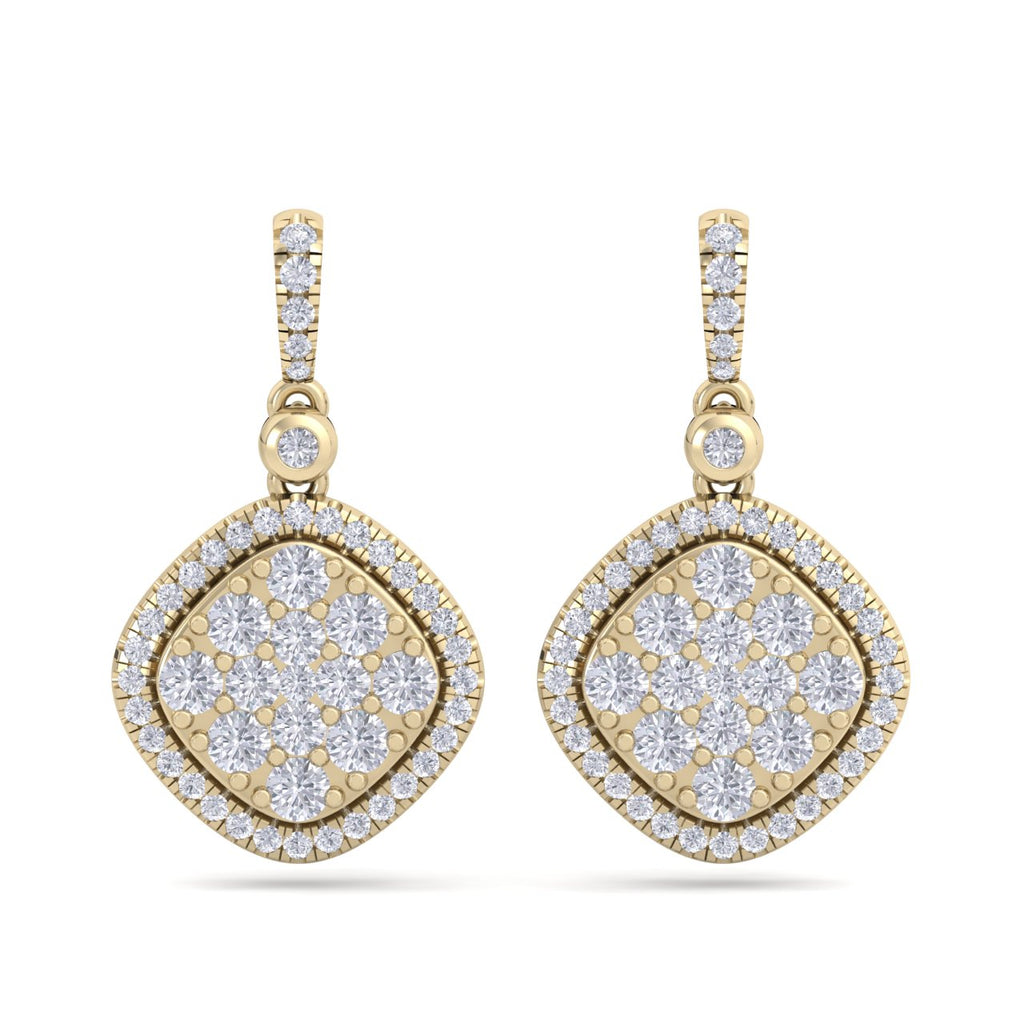Square drop earrings in yellow gold with white diamonds of 1.39 ct in weight - HER DIAMONDS®