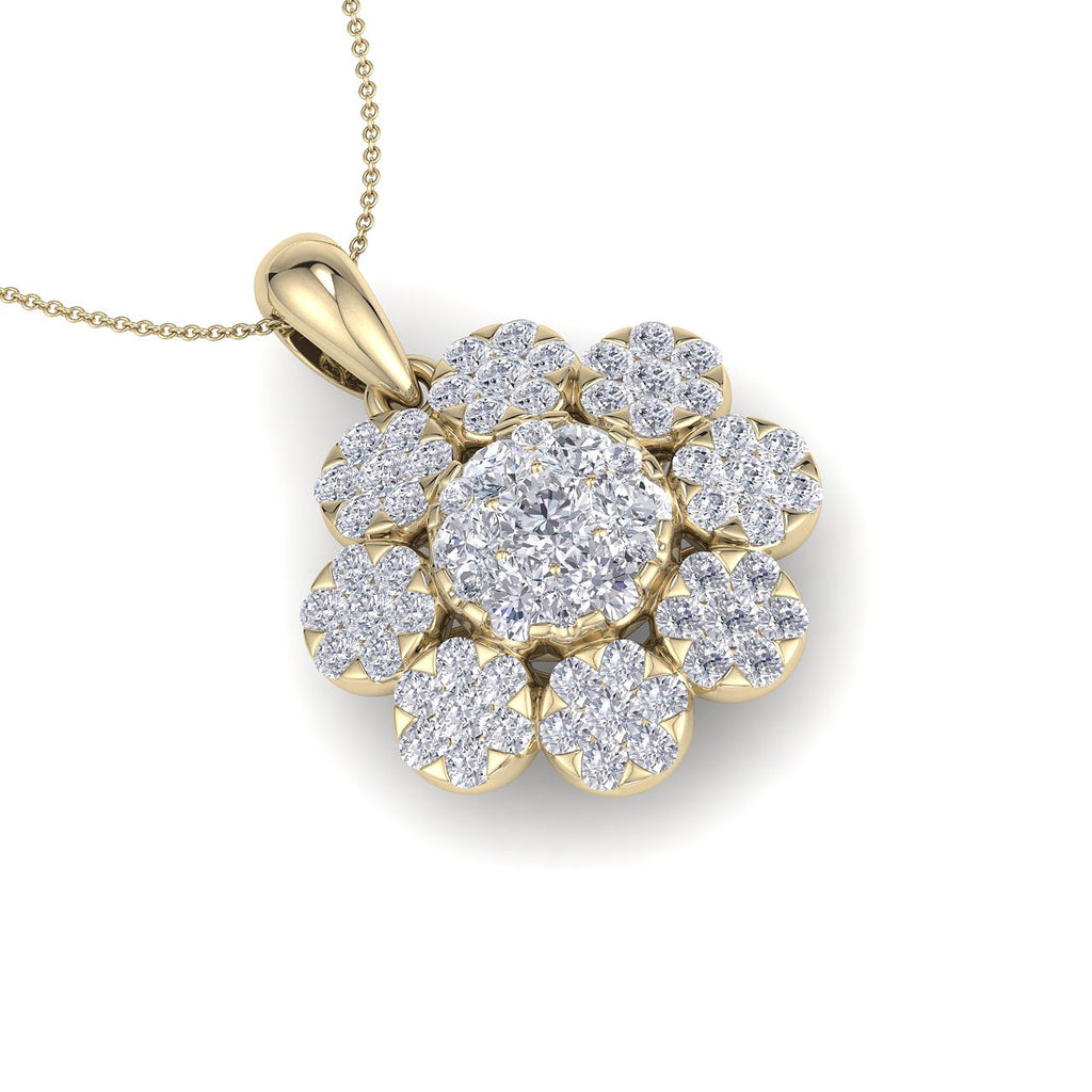 Flower shaped pendant in yellow gold with white diamonds of 1.84 ct in weight - HER DIAMONDS®