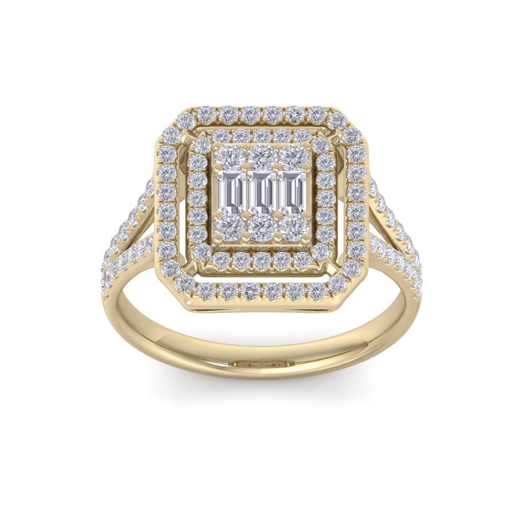 Square ring in yellow gold with white diamonds of 0.62 ct in weight