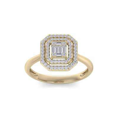 Square diamond ring in yellow gold with white diamonds of 0.28 ct in weight