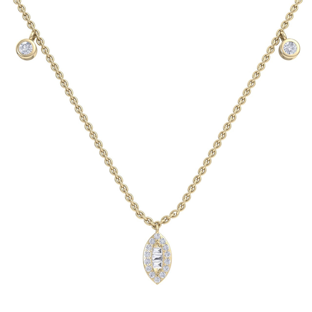 Marquise necklace in yellow gold with white diamonds of 0.49 ct in weight - HER DIAMONDS®