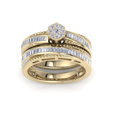 Bridal ring set in yellow gold with white diamonds of 0.58 ct in weight - HER DIAMONDS®