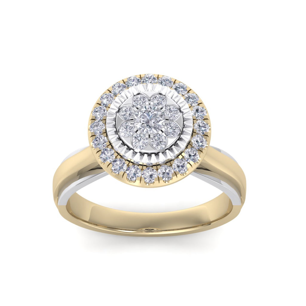 Two-tone ring in yellow gold with white diamonds of 0.39 ct in weight