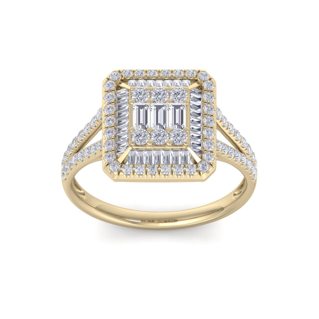 Square ring in yellow gold with white diamonds of 0.65 ct in weight