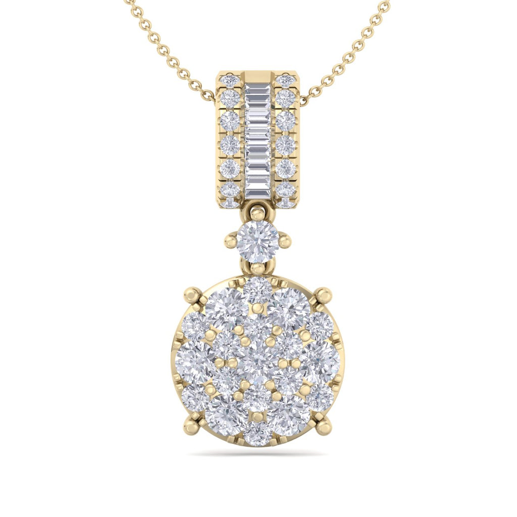 Pendant in yellow gold with white diamonds of 0.98 ct in weight - HER DIAMONDS®