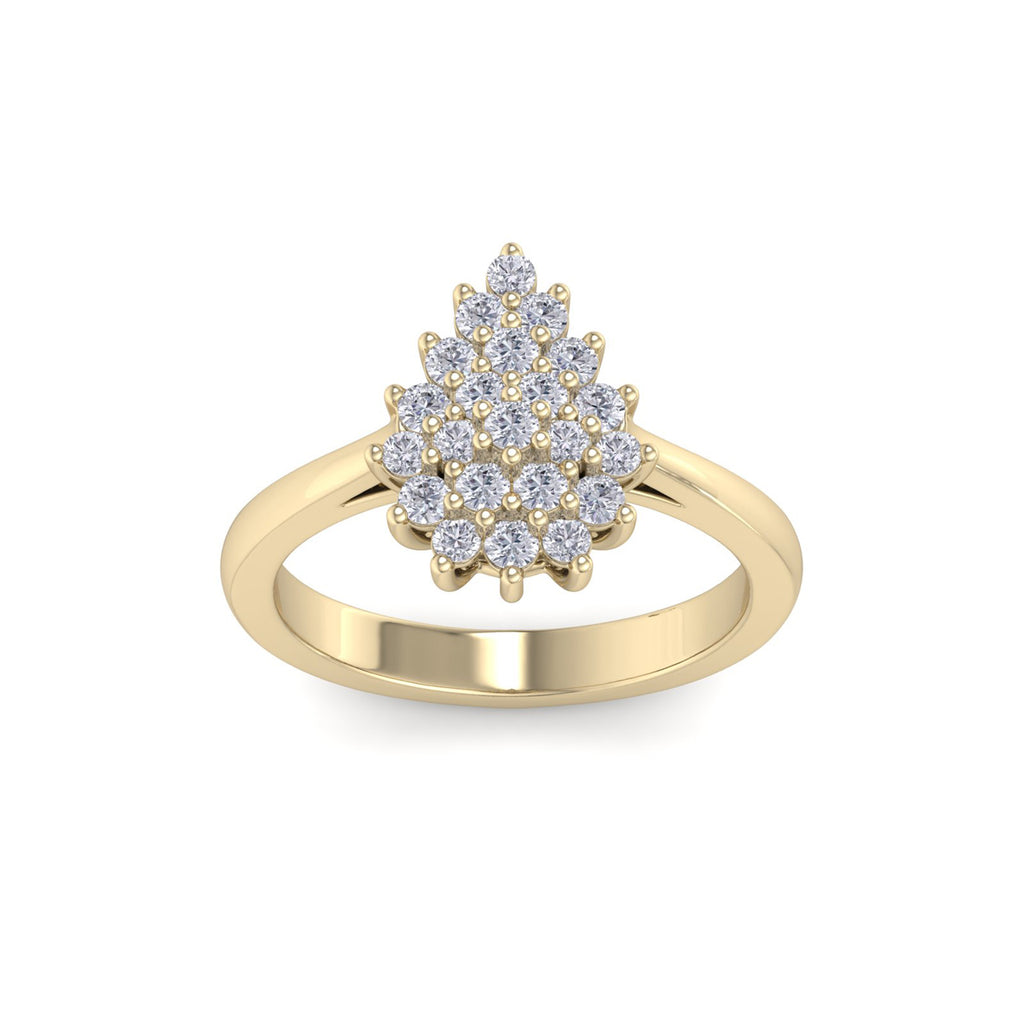 Pear diamond ring in yellow gold with white diamonds of 0.59 ct in weight