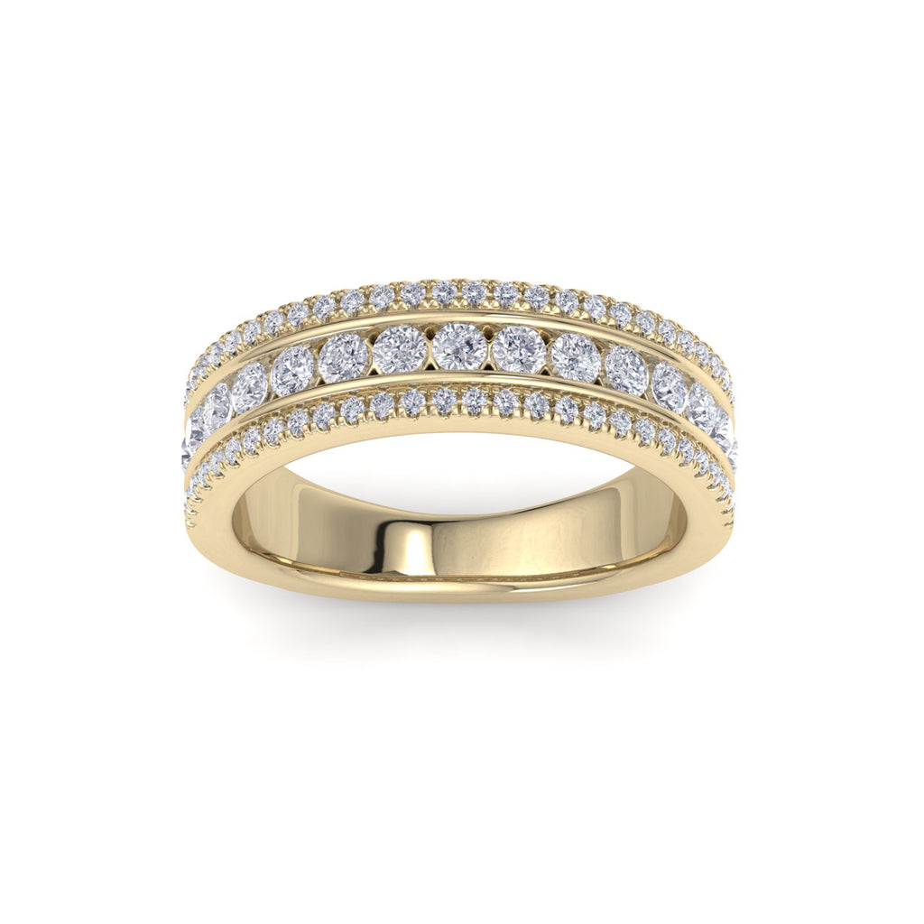 Three row ring in yellow gold with white diamonds of 0.93 ct in weight