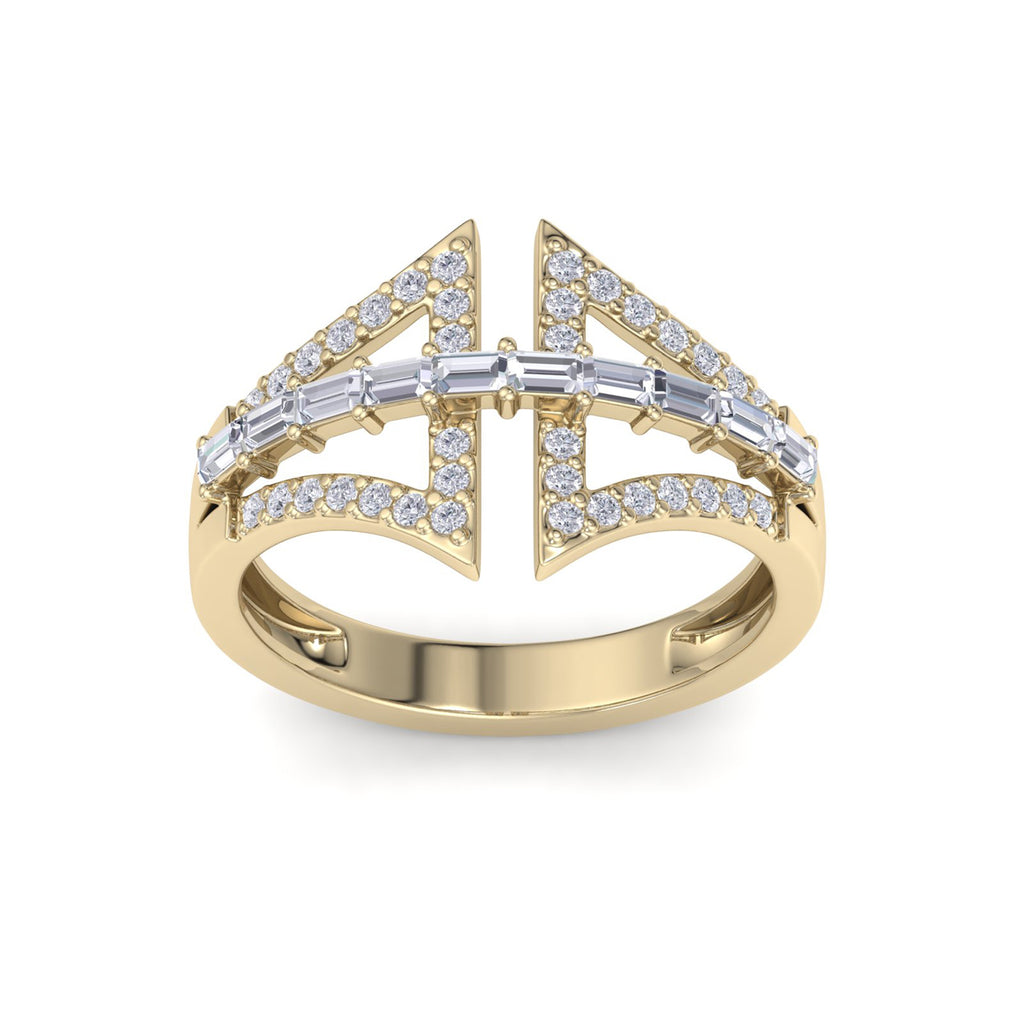 Statement ring in yellow gold with white diamonds of 0.54 ct in weight