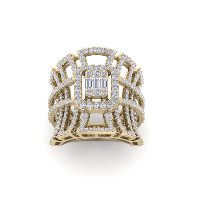 Statement ring in yellow gold with white diamonds of 1.85 ct in weight - HER DIAMONDS®