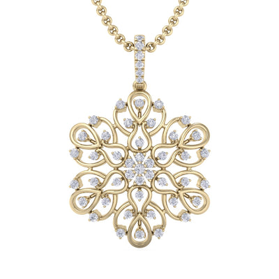 Flower pendant in yellow gold with white diamonds of 1.02 ct in weight
