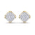 Stud earrings in yellow gold with white diamonds of 0.28 ct in weight