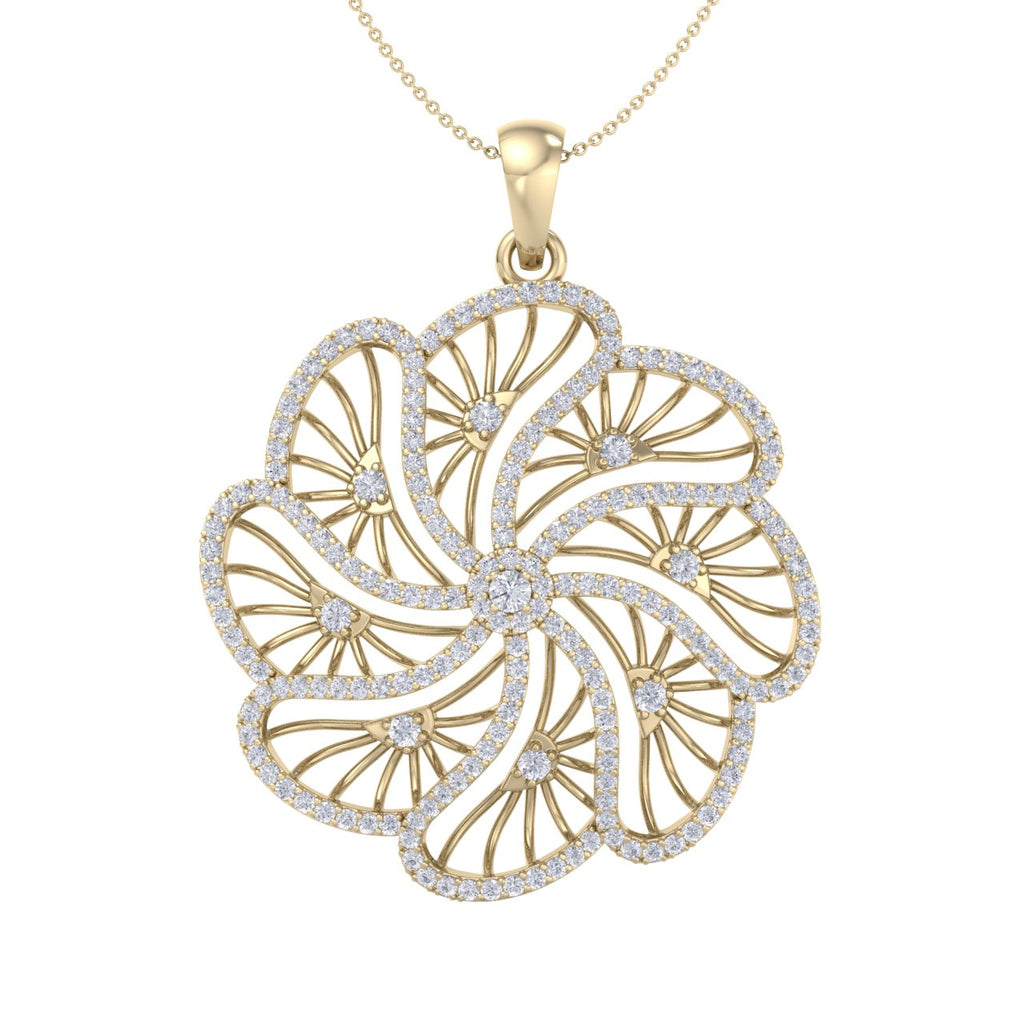 Flower pendant in yellow gold with white diamonds of 2.70 ct in weight