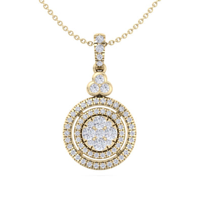 Round pendant in yellow gold with white diamonds of 0.65 ct in weight - HER DIAMONDS®