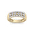 Three row ring in yellow gold with white diamonds of 0.81 ct in weight