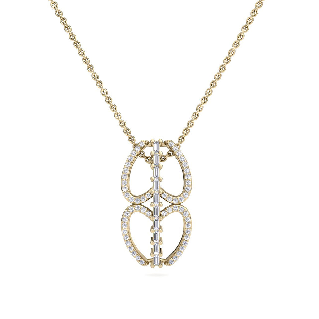 Double heart necklace in yellow gold with white diamonds of 0.53 ct in weight - HER DIAMONDS®
