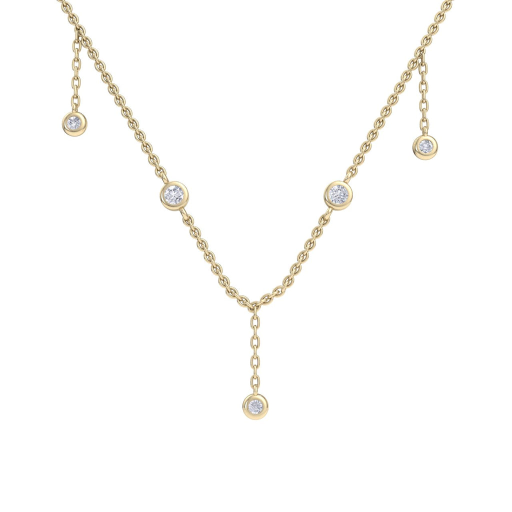 Waterfall necklace in yellow gold with white diamonds of 0.34 ct in weight - HER DIAMONDS®