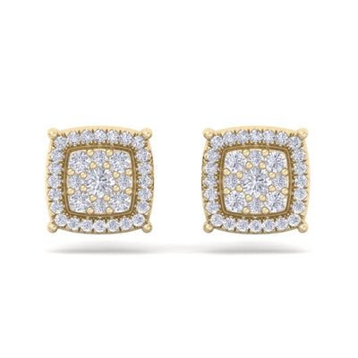 Square stud earrings in yellow gold with white diamonds of 0.48 ct in weight - HER DIAMONDS®