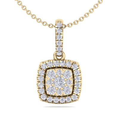 Classic square pendant in yellow gold with white diamonds of 0.35 ct in weight - HER DIAMONDS®